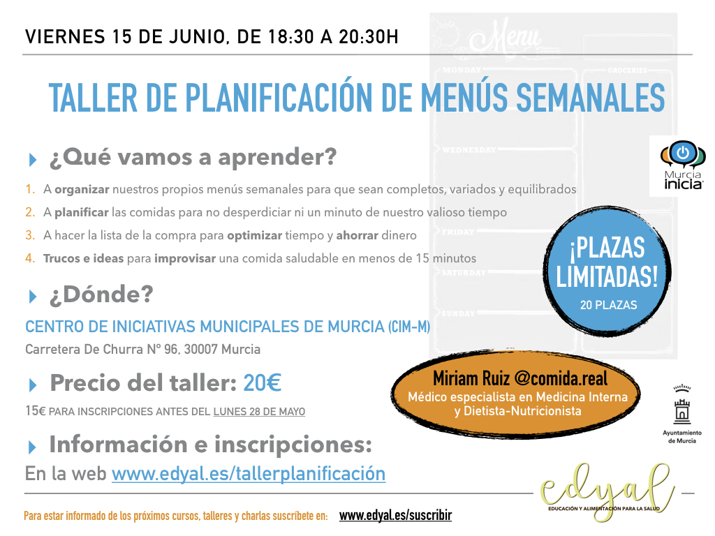 Taller de planificación de menús semanales en Murcia