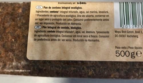 Etiqueta pan de centeno Lidl
