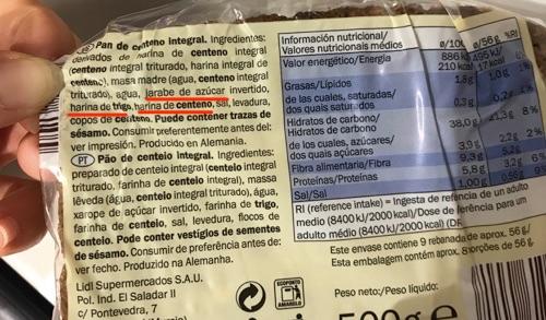 Etiqueta pan de centeno con azucar Lidl